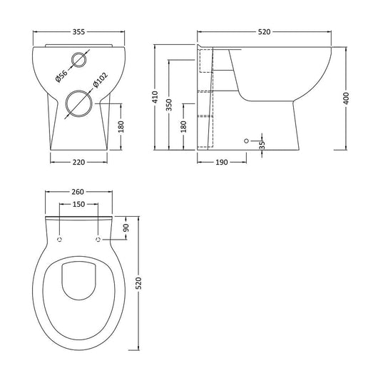 Mantello 1300mm Vanity & WC Set with Round Pan - Gloss Grey