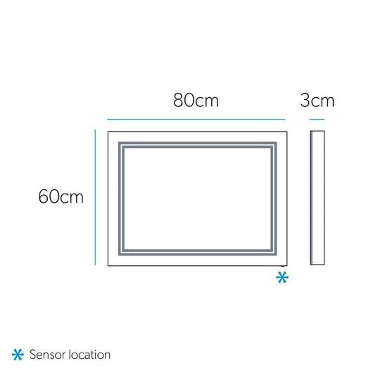 DesignCo Frame 800mm Illuminated LED Backlit Mirror - welovecouk