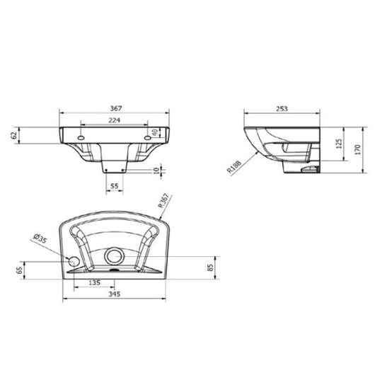 Orbit 360mm 1 Tap Hole Wall Hung Basin - welovecouk
