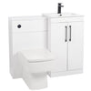 Mantello Black 1100mm Vanity & WC Set with Square Pan - White