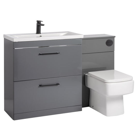 Mantello Black 1300mm Vanity Drawer & WC Set with Square Pan - Gloss Grey