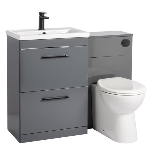 Mantello Black 1100mm Vanity Drawer & WC Set with Round Pan - Gloss Grey