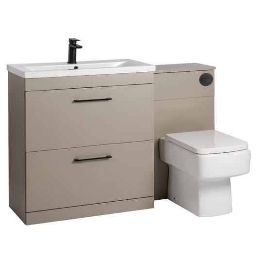 Mantello Black 1300mm Vanity Drawer & WC Set with Square Pan - Stone Grey