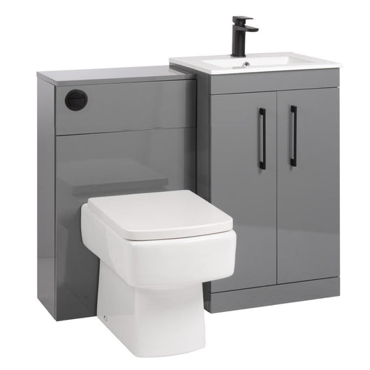 Mantello Black 1000mm Vanity & WC Set with Square Pan - Gloss Grey