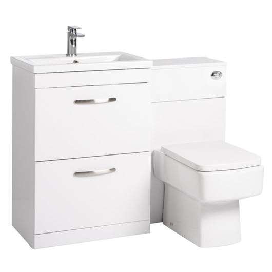 Mantello 1100mm Vanity Drawer & WC Set with Square Pan - White