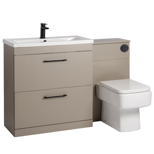 Mantello Black 1100mm Vanity Drawer & WC Set with Square Pan - Stone Grey