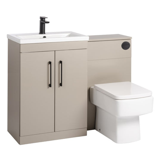 Mantello Black 1100mm Vanity & WC Set with Square Pan - Stone Grey