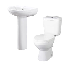 Alpha Close Coupled Toilet & Evo 555mm Full Pedestal Basin - welovecouk