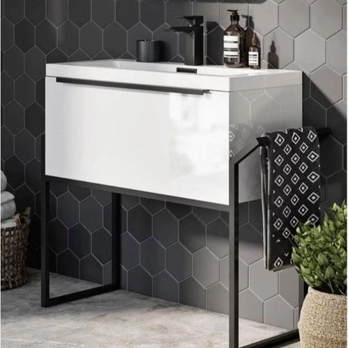 Eclipse 800 Basin, Cabinet & Black Frame