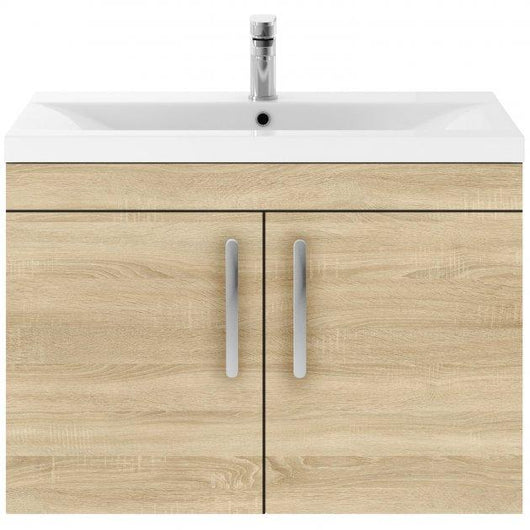 Mantello 800 Wall Hung 2-Door Basin Vanity Unit - Natural Oak