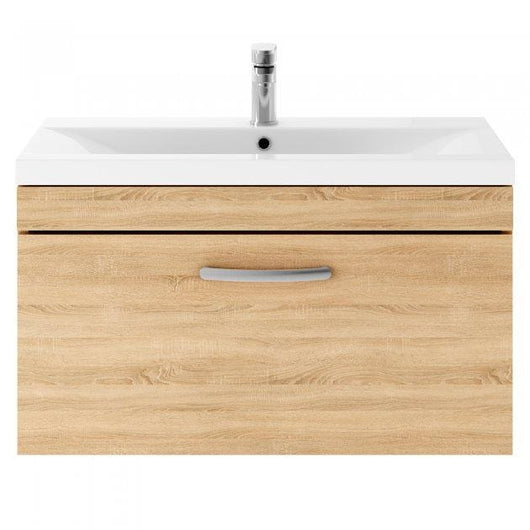 Mantello 800 Wall Hung Single Drawer Basin Vanity Unit Basin - Natural Oak