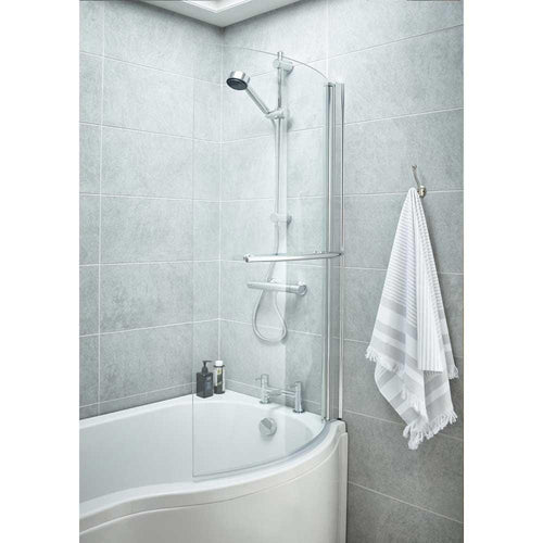 Curved P-Shaped Bath Screen With Rail