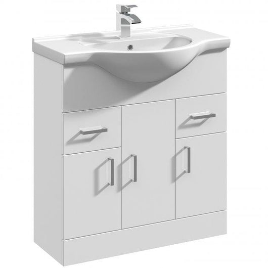 Percussion 750mm Floorstanding Basin Vanity Unit - White