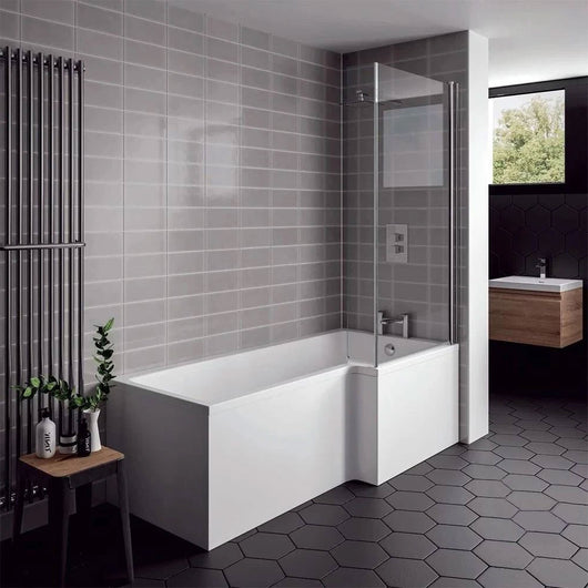 L-Shaped 1700 x 850/700 Shower Bath C/W Hinged 6mm Bath Screen & Front Panel - Various Options