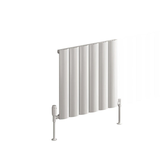 Reina Belva Single Horizontal Aluminium Radiator 600 x 620 - White - welovecouk