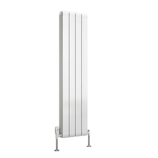 Reina Evie Single Vertical Aluminium Radiator 1442 x 320 - White - welovecouk