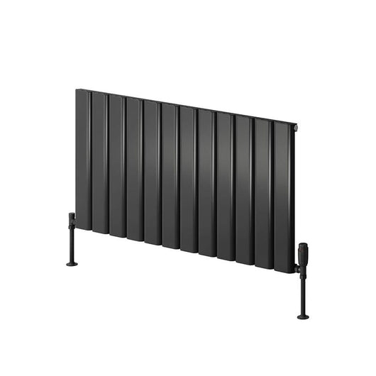 Reina Vicari Single Horizontal Aluminium Radiator 600 x 600 - Anthracite - welovecouk