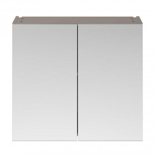 Mantello 800mm Double Door Mirrored Bathroom Cabinet - Stone Grey