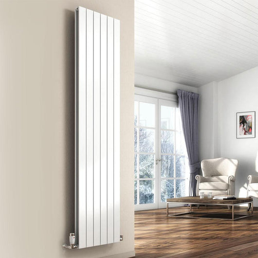 Reina Flat Vertical Mild Steel Double Column Radiator 1800 x 218 - White - welovecouk