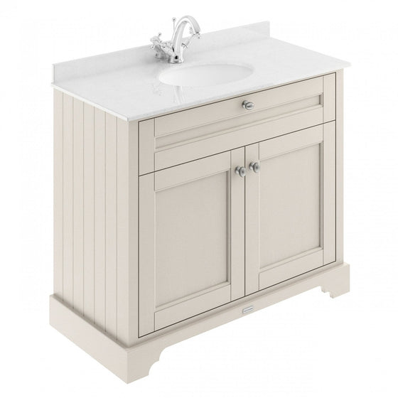 Old London 1000mm 2-Door Vanity Unit & Single Bowl White Marble Top 1 Tap Hole - Timeless Sand - welovecouk
