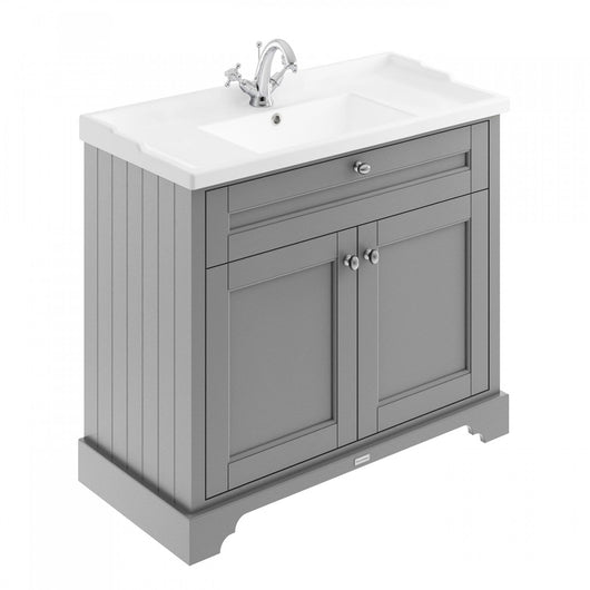 Old London 1000mm 2-Door Vanity Unit & Ceramic 1 Tap Hole Basin - Storm Grey - welovecouk