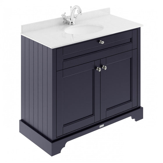 Old London 1000mm 2-Door Vanity Unit & Single Bowl White Marble Top 1 Tap Hole - Twilight Blue - welovecouk