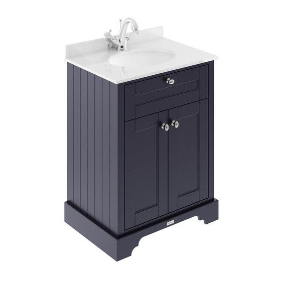 Old London 600mm 2-Door Vanity Unit & Single Bowl White Marble Top 1 Tap Hole - Twilight Blue - welovecouk