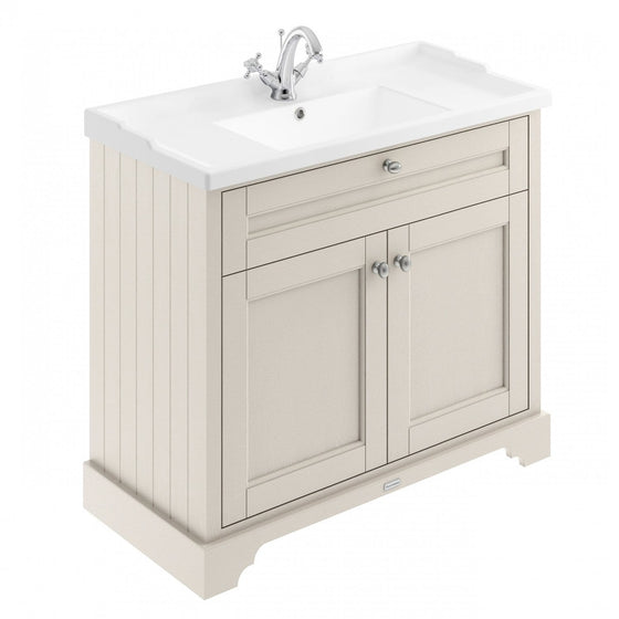 Old London 1000mm 2-Door Vanity Unit & Ceramic 1 Tap Hole Basin - Timeless Sand - welovecouk