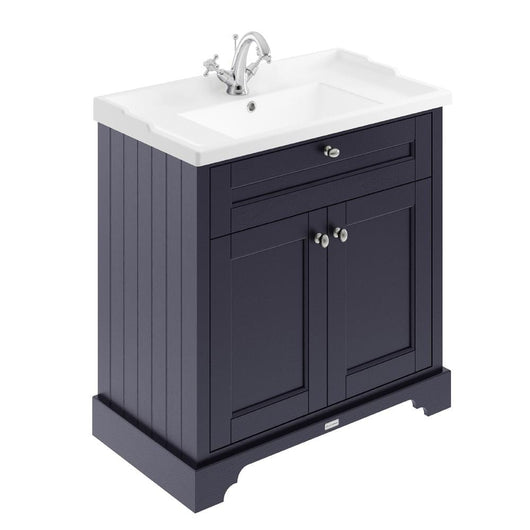 Old London 800mm 2-Door Vanity Unit & Ceramic 1 Tap Hole Basin - Twilight Blue - welovecouk