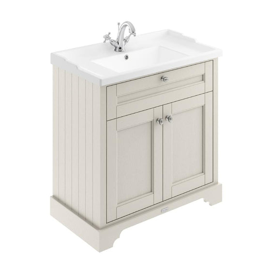 Old London 800mm 2-Door Vanity Unit & Ceramic 1 Tap Hole Basin - Timeless Sand - welovecouk