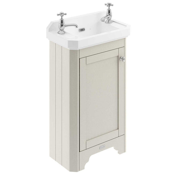 Old London 515mm Cloakroom Vanity Unit & Ceramic 2 Tap Hole Basin - Timeless Sand - welovecouk
