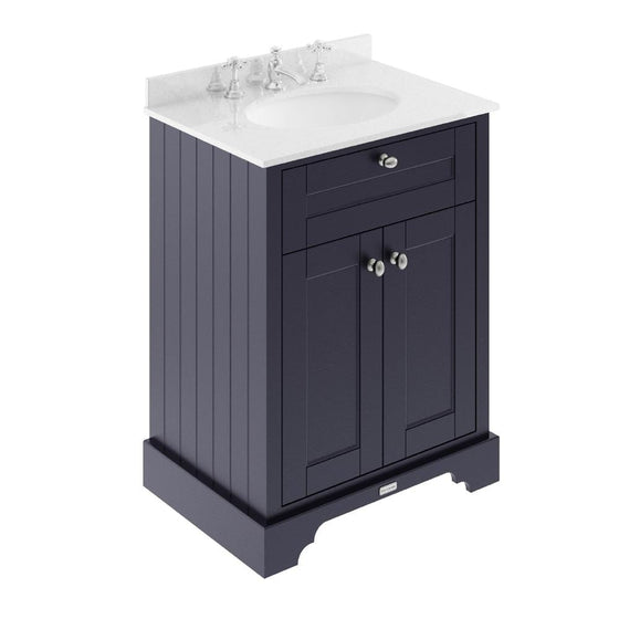 Old London 600mm 2-Door Vanity Unit & Single Bowl White Marble Top 3 Tap Hole - Twilight Blue - welovecouk