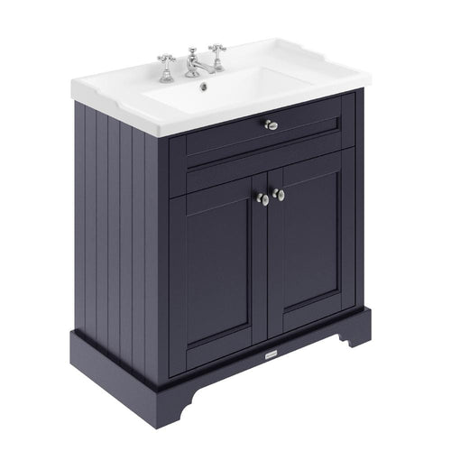Old London 800mm 2-Door Vanity Unit & Ceramic 3 Tap Hole Basin - Twilight Blue
