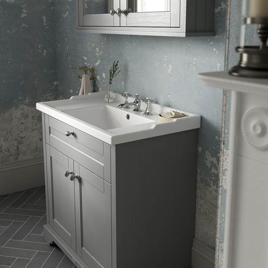 Old London 600mm 2-Door Vanity Unit & Ceramic 3 Tap Hole Basin - Storm Grey - welovecouk