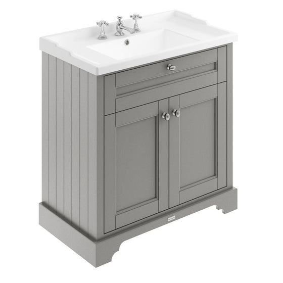 Old London 800mm 2-Door Vanity Unit & Ceramic 3 Tap Hole Basin - Storm Grey - welovecouk