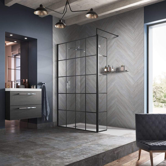 Trieste 1950 X 700Mm Matt Black Grid Wetroom Screen With Support Bar - 8Mm Glass Wet Room Screens