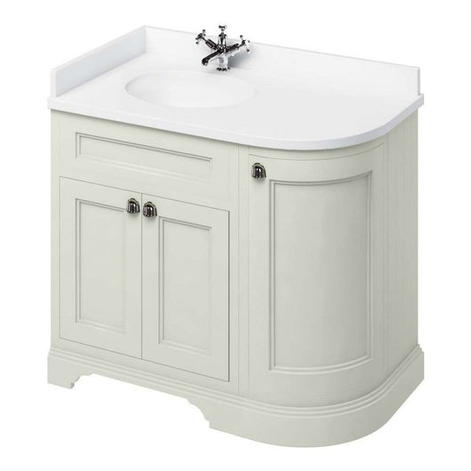 Burlington 1000mm Left Hand Corner Vanity Unit with Minerva Worktop - Sand