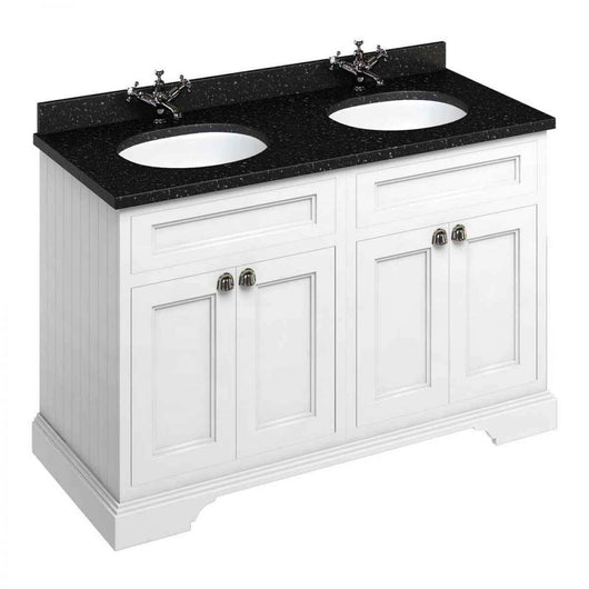 Burlington 1300mm Vanity Unit with Minerva Worktop & Double Vanity Bowl - White