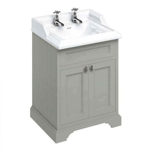 Burlington 650mm Floor Standing Vanity Unit with Classic Basin - Dark Olive