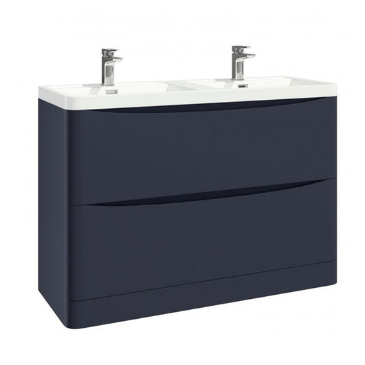 Como 1200mm Floor Standing Double Basin Vanity Unit - Indigo Blue