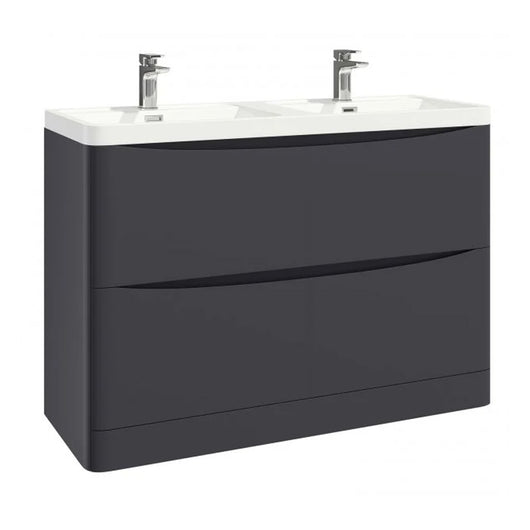 Como 1200mm Floor Standing Double Basin Vanity Unit - Matt Grey
