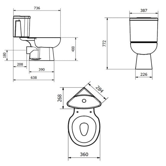 Orbit Close Coupled Toilet with Dual Flush Corner Cistern - Soft Close Seat - welovecouk