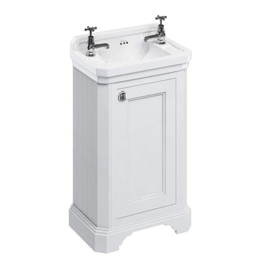 Burlington Edwardian 510mm Floor Standing Cloakroom Vanity Unit with Basin - Matt White