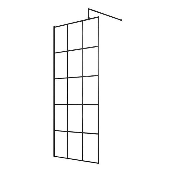 Trieste 1950 x 700mm Matt Black Grid Wetroom Screen with Support Bar - 8mm Glass