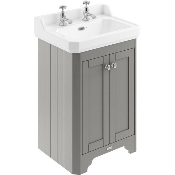 Old London 595mm 2-Door Vanity Unit & Ceramic Basin 2 Tap Hole - Storm Grey - welovecouk