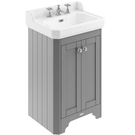 Old London 560mm 2-Door Vanity Unit & Ceramic Basin 3 Tap Hole - Storm Grey - welovecouk