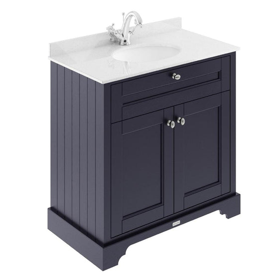Old London 800mm 2-Door Vanity Unit & Single Bowl White Marble Top 1 Tap Hole - Twilight Blue - welovecouk