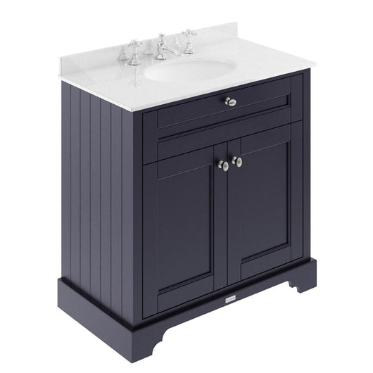 Old London 800mm 2-Door Vanity Unit & Single Bowl White Marble Top 3 Tap Holes - Twilight Blue - welovecouk