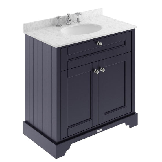 Old London 800mm 2-Door Vanity Unit & Single Bowl Grey Marble Top 3 Tap Holes - Twilight Blue - welovecouk