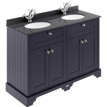Old London 1200mm 2-Door Vanity Unit & Double Bowl Black Marble Top 1 Tap Hole - Twilight Blue - welovecouk
